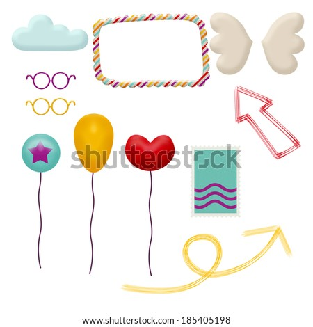 set of funny colorful elements - stock photo