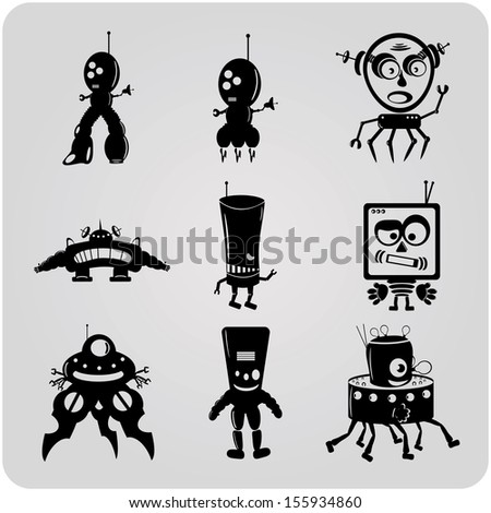 set of funny contour robots - stock photo