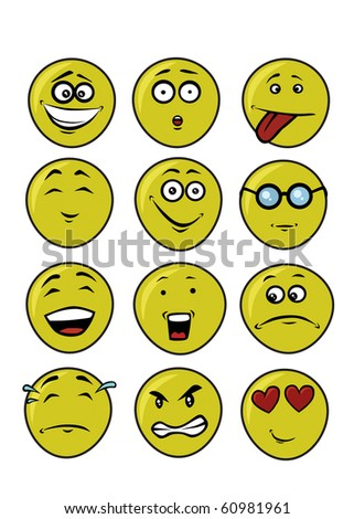 set of funny faces - stock photo