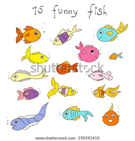 Set of funny fish. Fifteen bright cartoon isolated fishes.