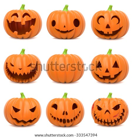 Set of funny Halloween pumpkins on white background - stock photo