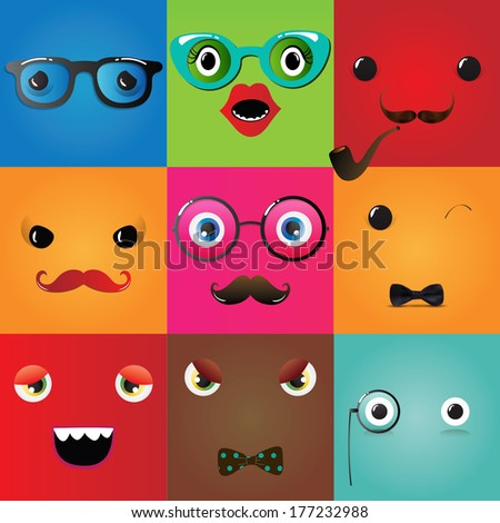 Set of funny hipster monster eyes, Illustration - stock photo