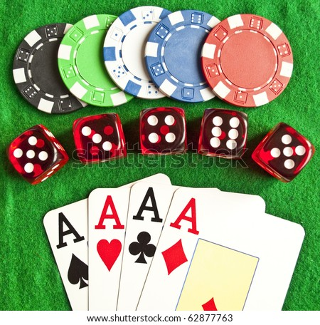 Set of gambling objects - poker chips - cards - dices - - stock photo