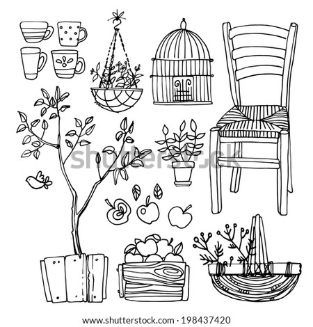 Set of garden furniture sketch black line, chair, flowers in pots - stock photo