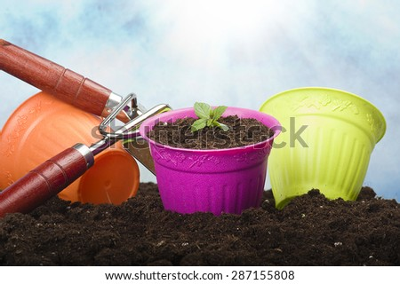 Set of gardening tools in the soil - stock photo