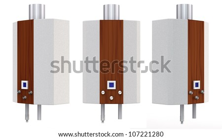 set of gas heaters on a white background - stock photo