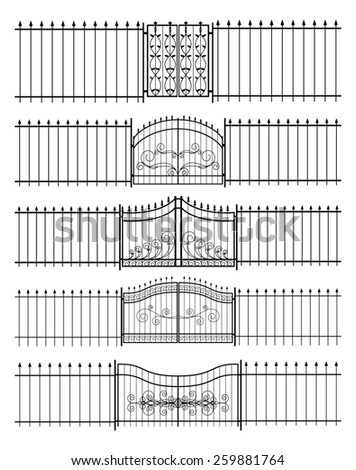 Set of gates and iron fence horizontal seamless. Protection and  border, guard