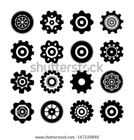 Set of gear wheels icons illustration isolated