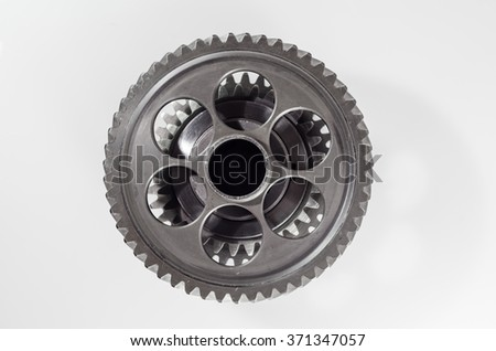 set of gears on grey background
