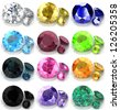 Set of gems in different colors - stock photo
