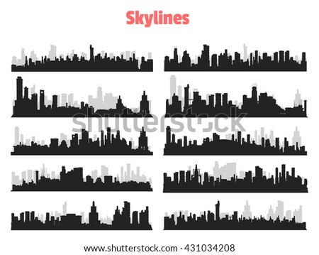 Set of generic black and gray big city skylines