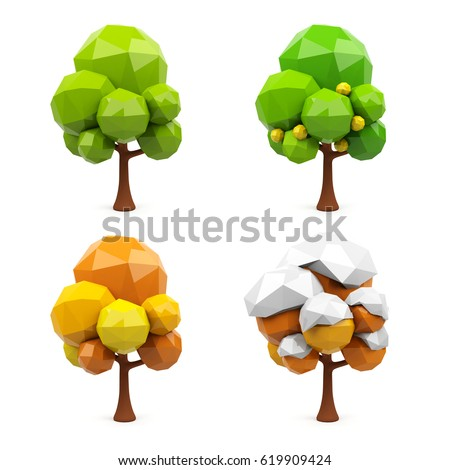 Set of geometric 3d trees isolated on white background. 3d rendering