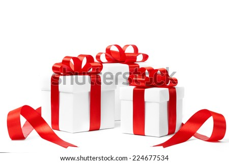 set of gift box isolated. studio shot - stock photo