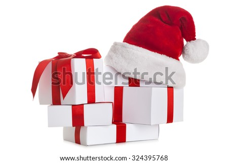 Set of gift box with santa claus hat - stock photo