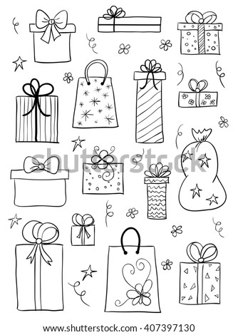 Set of gift boxes. Hand drawn sketch of gift boxes, presents for birthday, anniversary, wedding design. Raster version - stock photo