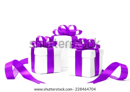 set of gift boxes with a tape. isolated on white background - stock photo