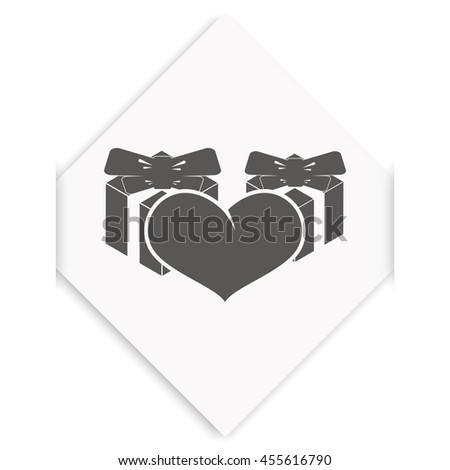 Set of gifts and heart icon. Flat illustration. - stock photo