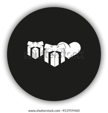 Set of gifts icon. Heart illustration. - stock photo