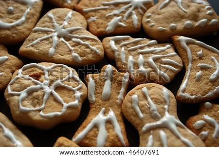 Set of gingerbread cookies - stock photo