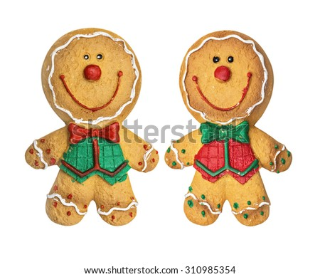Set of Gingerbread cookies. Christmas cookies.  Isolated on the white - stock photo
