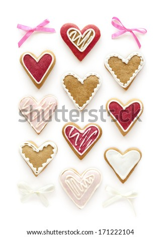Set of gingerbread hearts on white background - stock photo