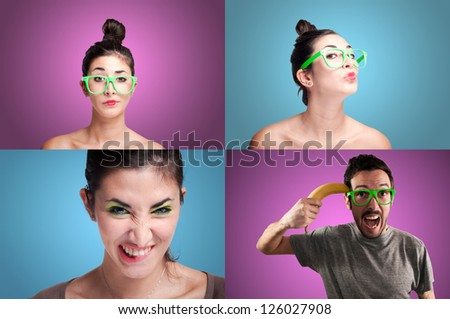 set of girls and guy on colorful background
