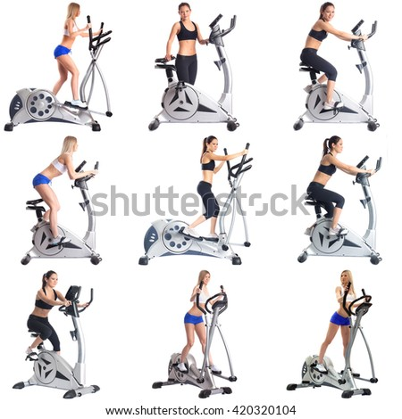 Set of girls practice in endurance on simulators - stock photo