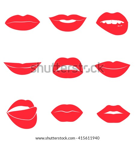 Set of glamour red lips. Beautiful female lips collection. Sexy kisses. Romantic smiles. Passion mouths. Lips with teeth and tongue. Lipstick advertisement. Romantic aspect. flat style icons.  - stock photo