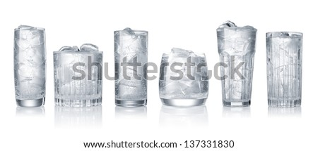 set of glases of water with ice cubes isolated on white background - stock photo