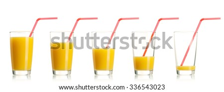 Set of glass of fresh orange juice with straw on white background
