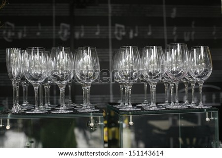 Set of glasses for alcoholic drinks, image of wine glasses - stock photo