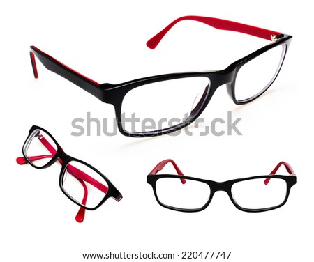 set of glasses isolated on a white background