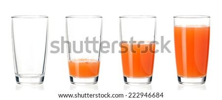 Set of glasses juice - stock photo