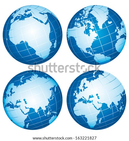 Set of globe icons showing Earth continents .
