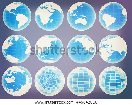Set of globe icons showing earth. 3D illustration. Vintage style.
