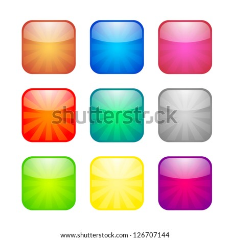 Set of glossy button icons for design. Raster version of the loaded vector. - stock photo