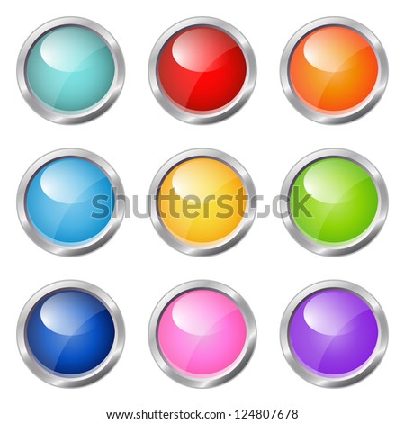 set of glossy buttons (raster version of the vector) - stock photo