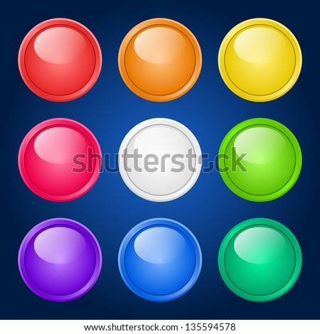 Set of glossy colorful buttons on dark background. Raster version. - stock photo