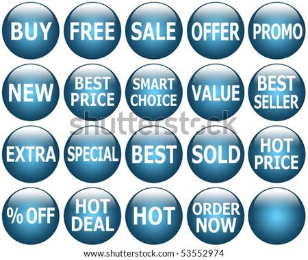 Set of glossy dark blue promotional symbols/icons. - stock photo