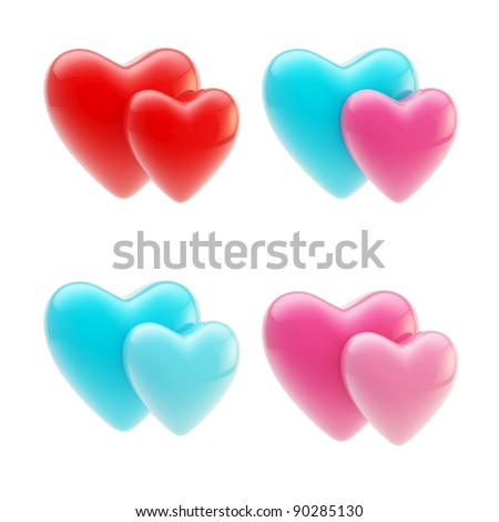 Set of glossy heart icons symbolizing heterosexual and gay types of relationships isolated on white