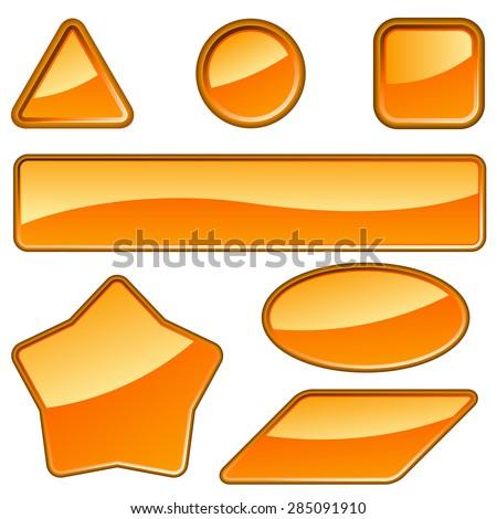 Set of glossy orange labels isolated on white background. - stock photo