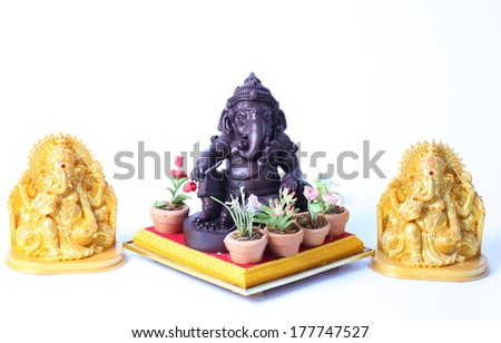 Set of God Ganesh over a white background
