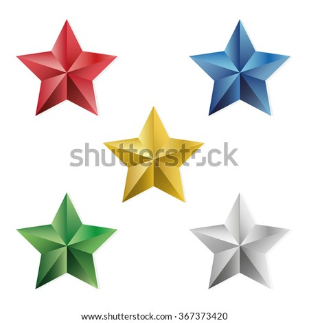 Set of gold and precious stars. illustration, isolated object on a white background - stock photo