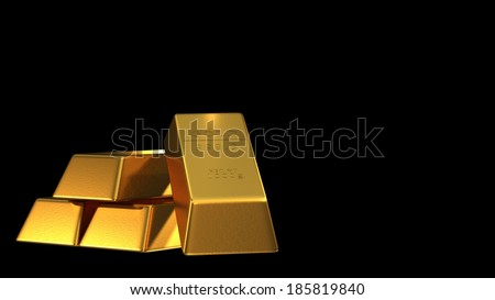Set of gold bars isolated - stock photo
