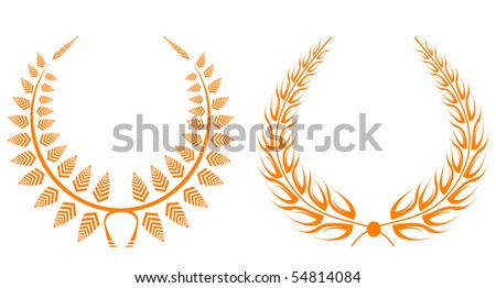 Set of gold laurel wreaths for design. Vector version also available in gallery - stock photo