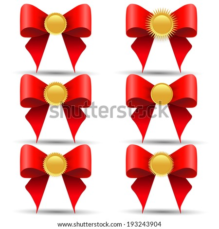Set of gold medals with a bow