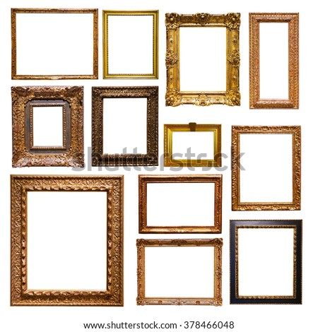 Set of gold picture  frames. Isolated on white background, may be used for any image - stock photo