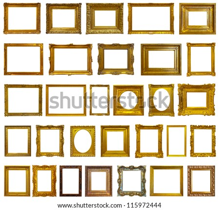 set of 30 gold picture frames isolated over white background with clipping path