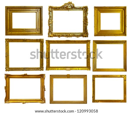Set of 9 gold picture frames. Isolated over white background with clipping path