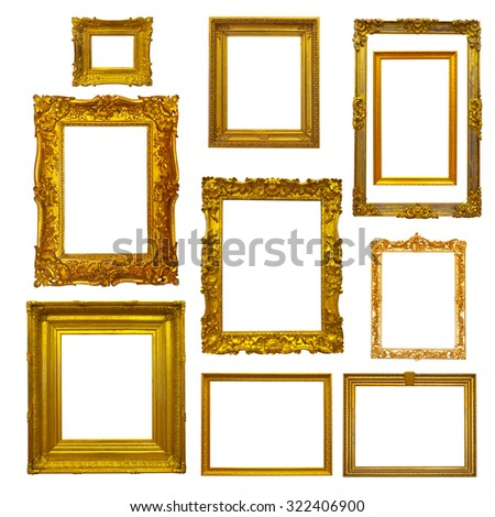 Set of gold picture  frames on white